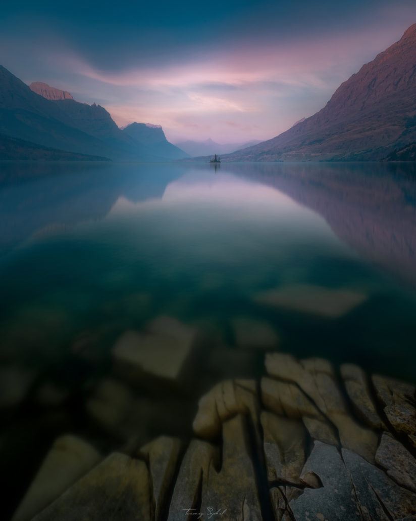 Today's Photo Of The Day is of Wild Goose Island in St. Mary's Lake, Glacier National Park, taken during the the forest fires in Montana.